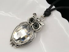 Accessory9 jewelry Big black eye owl oval cut clear crystal pendant necklace S78