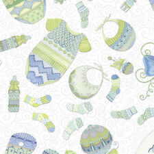 Baby Sprinkles Everything Tossed Boy White Blue 100 Cotton Fabric by The Yard