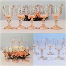 Vintage *ROSALINE PINK SWIRL* 5 Sherry/Port Stemmed Wine Glasses Made in FRANCE