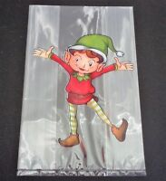 20 CHRISTMAS ELF CELLO TREAT BAGS FAVORS SWEETS LOLLY BAG PARTY TABLE DECORATION