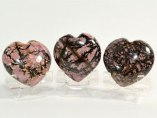 45mm Rhodonite Puffy Heart Natural Crystal Palm Mineral Stone - China (1PC)