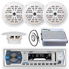 "PLMRB29W White USB AUX Radio, 6.5"" Marine Speakers, Antenna, 400W Pyle Amplifier"