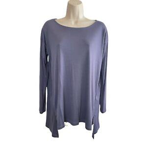 NEW WOT Eileen Fisher -100% Lyocell Jersey Long Tunic T-Shirt -Slits Hem -Size S