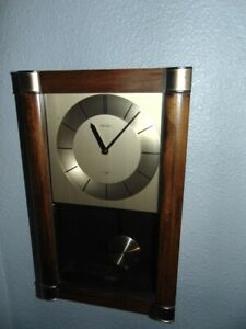 VTG Seiko Japan Quartz Wall Clock Chimes Pendulum Glass Door Wood/Brass 16x10""