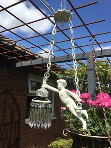 Restored French  Antique Cherub Chandelier Crystal Hanging Pendant Light