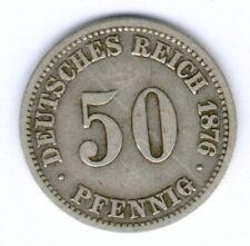Old German 50 Pfennig 1876 A. (Silver) Jaeger 7, Kratzer, Randf., ss-
