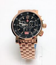 MICHELE SPORT SAIL ROSE GOLD TONE,BLACK DIAL,CHRONO,BRACELET WATCH MW01K00B3002