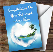 Palm Tree Love Beach Personalised Retirement Greetings Card