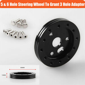 "1PC Car Steering Wheel to Grant 3 Hole 0.5"" Hub for 6 Hole Adapter Kit Aluminum"