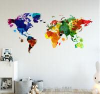 Watercolour World Map Wall Sticker Nursery Decals Kids Home Decor Art Mural Gift