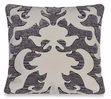 UPSTAIRS DRANSFIELD ROSS ANTIGUA SQUARE THROW PILLOW GREY IVORY DAMASK DESIGN