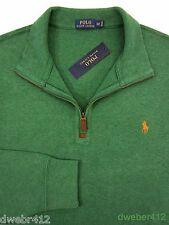 Men Polo Ralph Lauren BIG TALL Half Zip French Rib Green Cotton Pullover Sweater