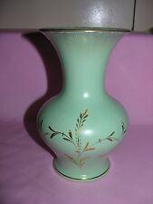 Vintage Dumler & Breiden HOHR Germany MCM Art Pottery Vase Gold Leaves Design
