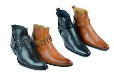 Mens Faux Leather Cowboy Western-Inspired Biker Ankle Boots (Western-01/03)