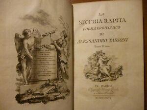 LA SECCHIA RAPITA POEMA EROICOMICO DI ALESSANDRO TASSONI Parigi 1766 illustrato