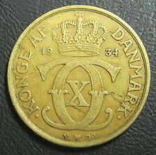 DANEMARK - 1 KRONE  1934 N GJ - CHRISTIAN X