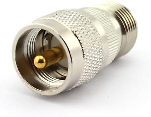 DGZZI 2-Pack UHF Male to N Female RF Coaxial Adapter UHF to N Coax Jack