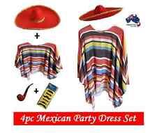 Mexican Poncho & Sombrero Hat Fiesta Set Party Fancy Dress Cowboy Bandit Costume