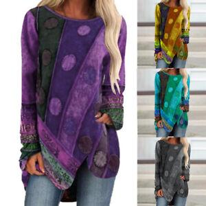 Ladies Loose Hippie T Shirt Tunic Tops Long Sleeve Womens Boho Casual Jumper