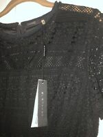 Elie Tahari- Womens Black Lace Dress With Sleeves- Size 8-New With Tags