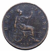 1889 United Kingdom (UK) Half 1/2 Penny - Victoria 2nd portrait - Lot 305