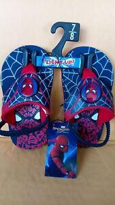 SpiderMan Blinking Flip Flops size 7/8 little boys with back straps