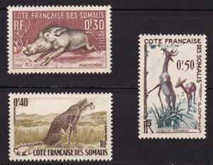 SOMALI COAST #271-273 MNH ANIMALS; WART HOG, CHEETAH & GERENUK