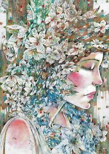 original drawing A3 134RM art samovar modern female portrait Mixed Media floral