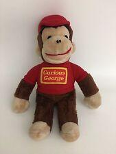"Vintage Knickerbocker Curious George Monkey Plush 14"" Red Shirt Stuffed Animal"
