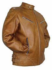 Herren Lederjacke Bikerjacke in braun aus echtem Rindsleder Biker Rocker Custom