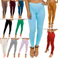 Womens Full Length Plain Stretch Ladies Leggings New Pants Sizes S M L XL 8-16