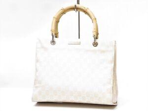 Authentic GUCCI Bamboo Canvas Tote Handbag No Strap Ivory Italy 18635614