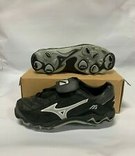 MIZUNO CHIPPER 9 SPIKE LOW CLEATS 9.5 BLACK/WHITE FB28LBK