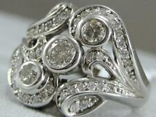 Estate Wide Diamond Open Bezel 3 Stone 14K White Gold Right Hand 17Mm Ring 3R16W