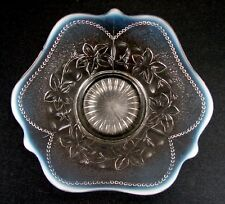 French Opalescent (White) Leaf Rosettes and Beads Low Bowl Dugan