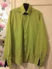 7 Camicie Slim Fit Long Sleeved Shirt Size XL In Lime Green Stripes