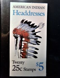 US Full Booklet BK179 25c Indian Headdresses contaning 2 2505a panesof 10 sealed