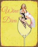 Wine Diva Pin Up - Vintage Art Print Poster - A1 A2 A3 A4 A5