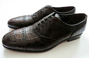 SALVATORE FERRAGAMO Brown Crocodile Alligator Leather Shoes 11 US 45 Euro 10 UK