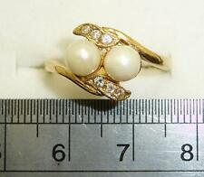 9carat 9k Yellow Gold Cultured Twin Pearl & Cubic Set Ring UK-O 1/2 US - 7 1/4