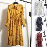 Spring Flowers Chiffon Long Sleeve Casual Party Vintage Boho Maxi Women Dress