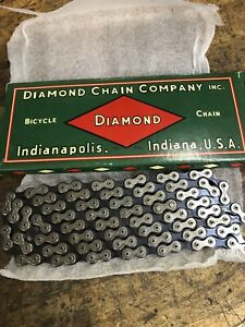 """Vintage Bicycle Parts. Pre War DIAMOND Skiptooth 1"""" Pitch Chain. Near NOS"""
