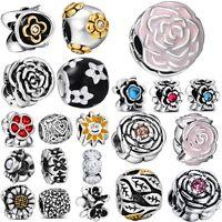 Silver Charm Bead DIY Flowers New Style Fit Women European 925 Sterling Bracelet