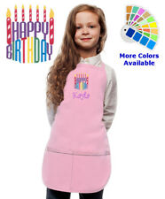 Personalized Kids Apron with Happy Birthday Candles Embroidery Design