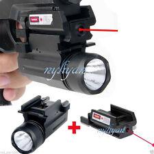Bright CREE LED Flashlight+Red Laser Sight For Rifle Pistol Gun G17/19/20/21/22