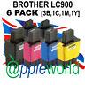Pack de 6 LC900 Compatible Cartuchos Tinta (3 x bk, 1x C, M&Y )— NO Brother OEM
