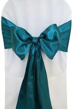 "100 Dark Teal Satin Chair Cover Sash Bows 6"" x 108"" Banquet Wedding Made in USA"