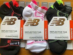 NEW BALANCE RUNNING Socks $14 MSRP Men Women Reflective Double Tab 1 Pair M + L