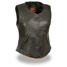 Milwaukee Leather Women's Snap Front & Plain Side-Longer Body Vest  **LKL4701
