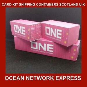 ONE Ocean Network Express 40ft x 10 & x 2 FREE 20ft N Gauge 1:160 Card Models